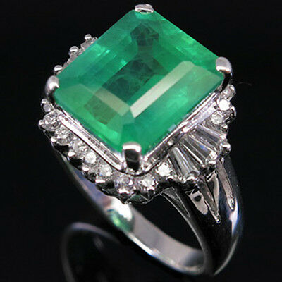 Luxurious @@@ Top Green Emerald & Sapphire Real 925 Sterling Silver Ring