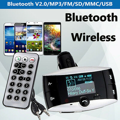 1.5'' LCD Car Kit Bluetooth MP3 Player FM Transmitter Modulator SD USB Remote