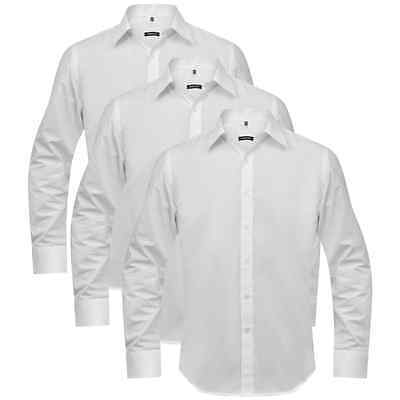 3 Mens Long Sleeve Shirt Business Work Wear Formal Casual Smart White Size M