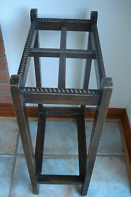 Antique Wooden Oak Stick Stand decorated with beading on top