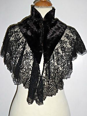 Antique Victorian Lace & Velvet Shoulder Cape Steampunk Goth