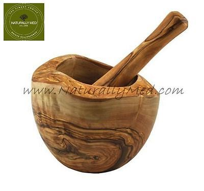 Naturally Med Large Olive Wood Pestle and Mortar Herb Grinder