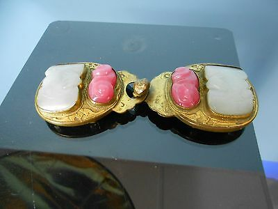 Hollow Brass Belt Buckle with inlaid Grey and Pink stones