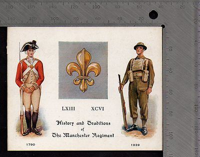 Military - Manchester Regiment History & Traditions Folded Card - Gale & Polden