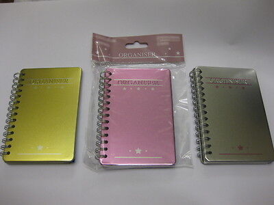12 x METAL COVERED ORGANISERS 3 COLOURS MONTHLY WEEKLY NOTES EMAIL ADDRESS ETC