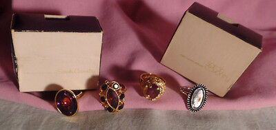 Sarah Cov Vintage Rings Lot Of 2  Sarah Coventry 2 In Boxes Color Stones