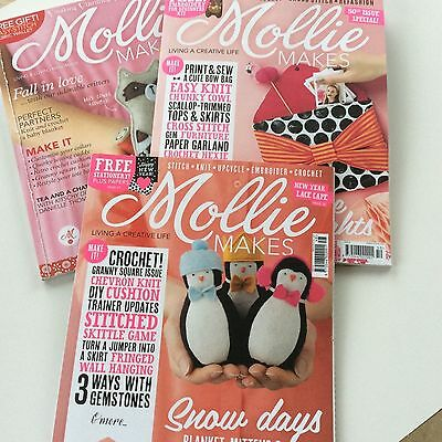 3 x Mollie Makes Magazine Issues 23 48 & 50 Free Gift Set Collection