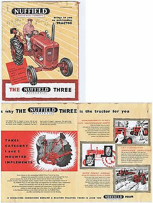 Original c.1959 Nuffield Universal Three Tractor Sales Brochure - Faults