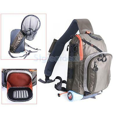 Waterproof Fishing Tackle Sling Pack Shoulder Waist Net Lure Storage Bag