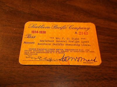 1934/1936 Southern Pacific Company Employee Pass F.c.tighe