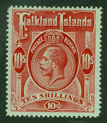 SG 68 Falklands 10/- red/green. Very lightly mounted mint. Good colour & well...