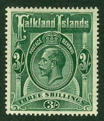 SG 80 Falklands 3/- slate green. Very lightly mounted mint CAT £100