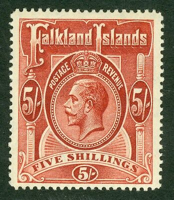 SG 67 Falklands 5/- deep rose red. A very fine lightly mounted mint example..