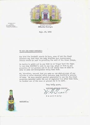 1954 NuGRAPE SODA LETTERHEAD, TO BOTTLERS, ANDY GRIFFITH ADVERTISING SUN CREST