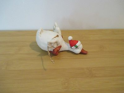 Vintage Goose Geese Porcelain Ceramic Christmas Ornament TAIWAN