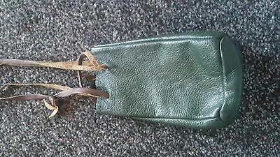 green leather pouch  bag medieval ree-enactment larp