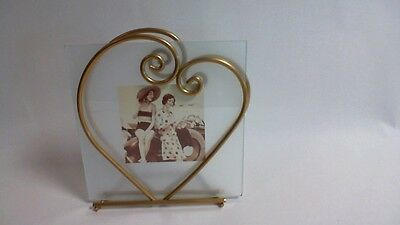 Gold Heart Photo Frame - Square Picture Glass - 3.5 x 3.5 Photograph #LANDR