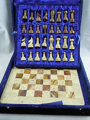 Chess Set Onyx Marble Vintage Old Retro Collectable Chess