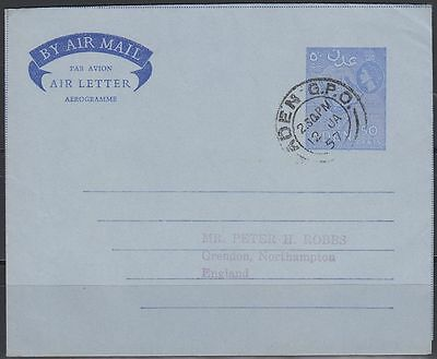 1957 Aden Aerogramme Air Letter, used [cb299]