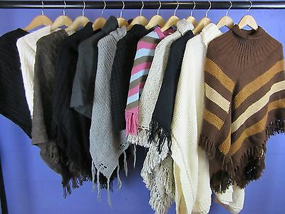 12 x WOMEN'S VINTAGE KNITTED PONCHOS JOB LOT CLEARANCE WHOLESALE ONE SIZE #LOT10
