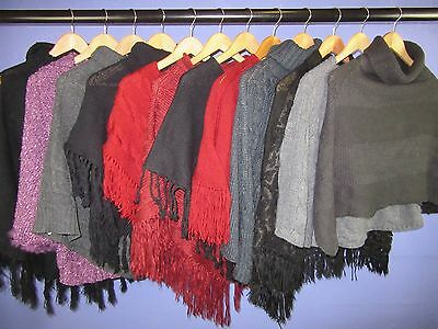 12 x WOMEN'S VINTAGE KNITTED PONCHOS JOB LOT WHOLESALE CLEARANCE ONE SIZE #LOT12