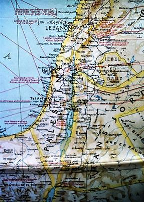 The National Geographic Society Map Of The Middle East Bible Lands 1938 Vintage