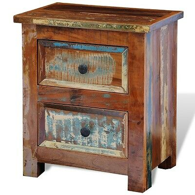 New Reclaimed Solid Wood Bedside Cabinet with 2 Drawers Vintage Rustic Antique