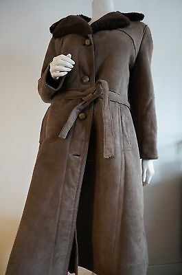 Manteau Cuir retourné T 40 mi long Shearling Coat Leather vINTAGE vtg hippiE