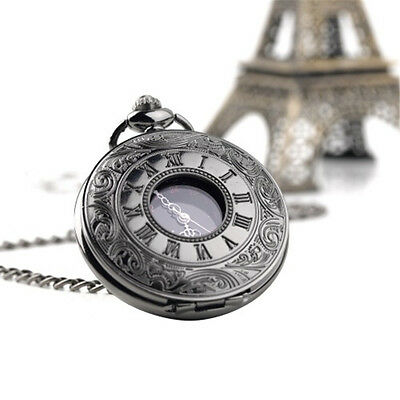 Chain Vintage Roman Pattern Pocket Watch Roman Numbers Hollow Pointer Display