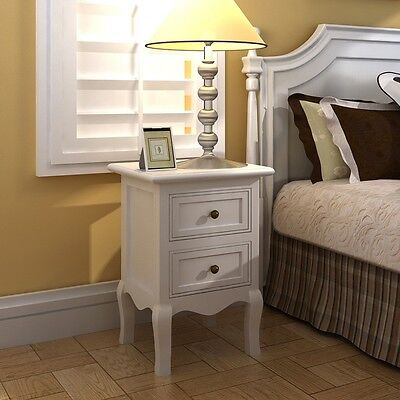 #sNEW SET OF 2 TWO WHITE CABINETS NIGHTSTAND BED STANDS FRENCH STYLE MDF STORAGE