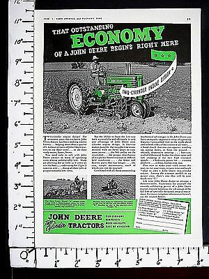 1940 JOHN DEERE Two-Cylinder H & A farm tractors Magazine Ad agriculture 4187a