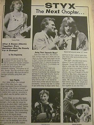 Styx, Full Page Vintage Clipping