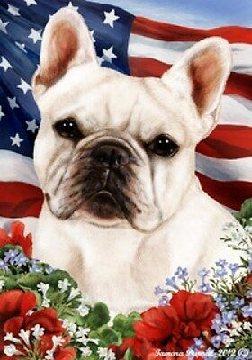 Garden Indoor/Outdoor Patriotic I Flag - White French Bulldog 162131