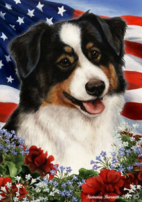 Garden Indoor/Outdoor Patriotic I Flag - Tri Australian Shepherd 163531