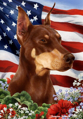 Garden Indoor/Outdoor Patriotic I Flag - Red Doberman Pinscher 160661