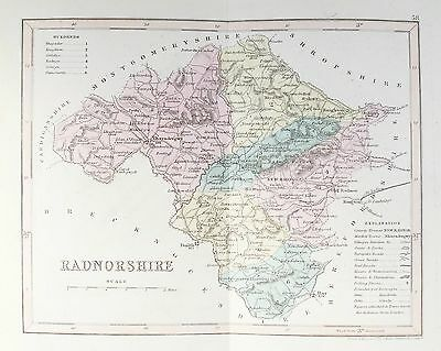 OLD ANTIQUE MAP RADNORSHIRE WALES c1840's by J ARCHER ORIGINAL HAND COLOUR