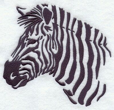 Large Embroidered Zippered Tote - Zebra Silhouette F4996