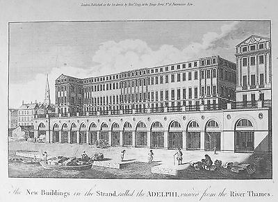 OLD ANTIQUE PRINT LONDON ADELPHI BUILDINGS STRAND c1780's ENGRAVING THAMES