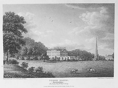 OLD ANTIQUE PRINT STOKE EDITH HEREFORD HALL CHURCH c1810 ENGRAVING by W ANGUS