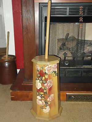 """Vintage Butter Churn Farm Country Decor Hand Painted Flowers Floral 20"""" Tall"""