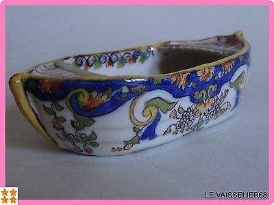 ANTIQUE small boat FRENCH FAIENCE DESVRES ROUEN FOURMAINTRAUX