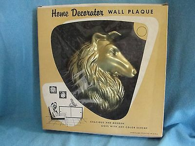 Home Decorator Wall Plaque By Miller Studios/ Gold Color Collie Head/ Plastic