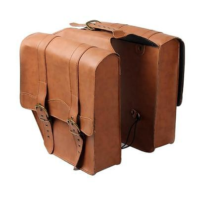 Twin Pannier Leather Bag Bicycle Bike Cycle Double PU Brown Tan Retro Vintage