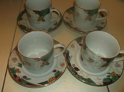 Set Of 8 Pieces Tienshan Fairfield Magnolia Cups & Saucers