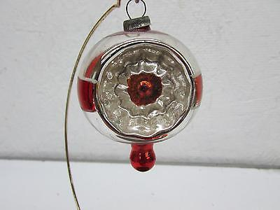 Vintage Christmas Double Indent Glass Top Ornament Striped