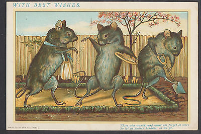 C542 Good Victorian Marcus Ward Greetings Card: MIce Sowing Seed