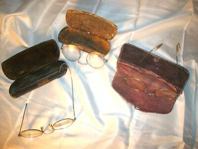 Lot 3 Pair Vintage Eyeglasses with Cases Gold Silver Scrap Antique Eye Glasses