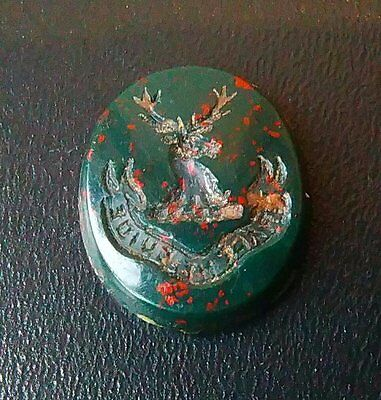"""Antique Scottish Bloodstone Agate Intaglio Seal Forbes Clan """"grace Me Guide"""""""