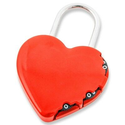 FJM Security Products Heart-Shaped Zinc Alloy 3 Dial Combination Padlock