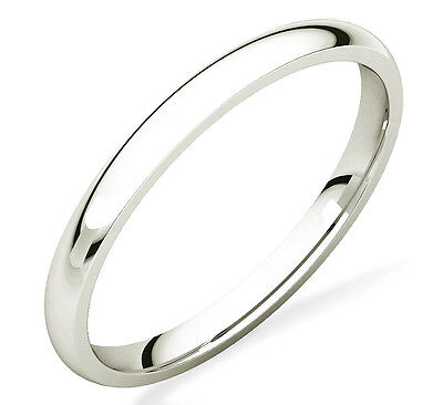 Ladies 100% 10K White Gold Plain Domed Wedding Band 2mm Wide - Comfort-Fit